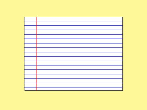 white line paper isolated on yellow background