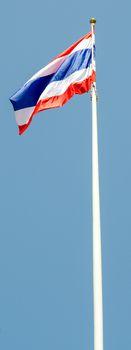 Thai National flag and bule sky background