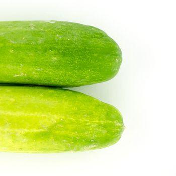 half Cucumber isolated on white background
