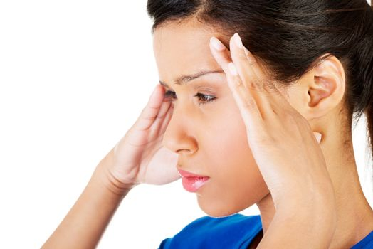 Woman with headache or problem
