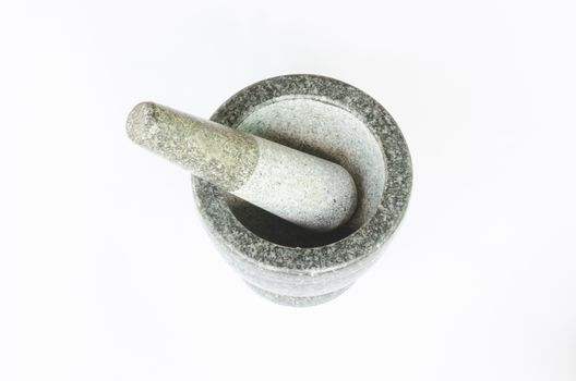 stone mortar isolated on white background