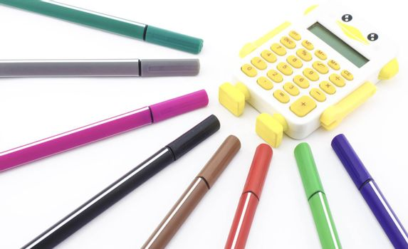 colorful pen with calculator isolated on white