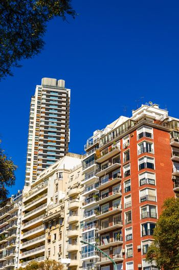 A cluster of apartment buildings in the Palermo neighborhood of Buenos Aires
