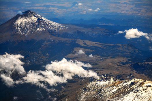 Aerial view of Popocatepetl volcano near Mexico City