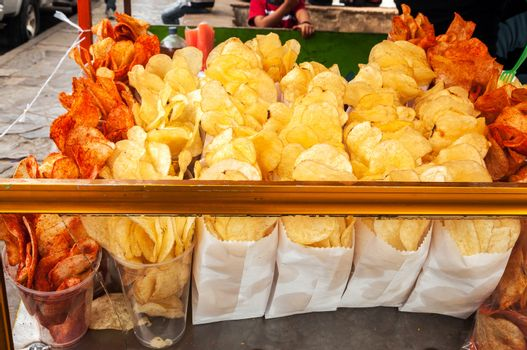 Snacks for sale in a stall on the street in San Cristobal de las Casas, Mexico