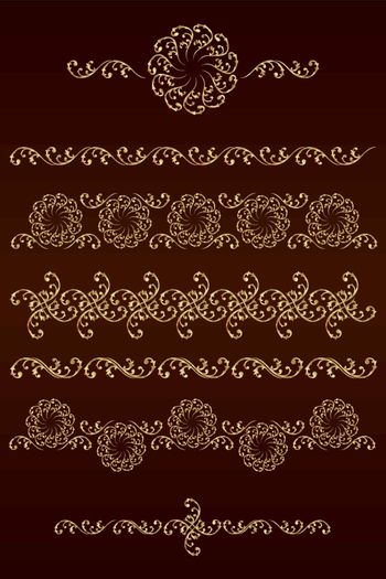 Set of vector borders with floral elements