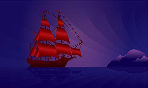Sailing ship on the night skyline