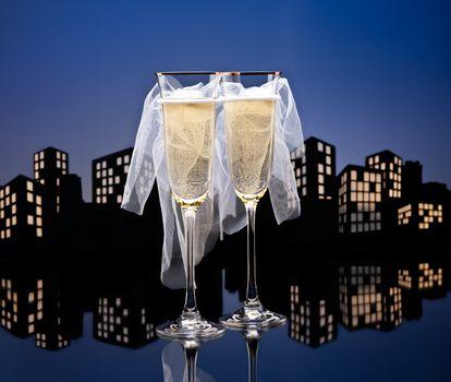 Metropolis Champagne glasses with conceptual same sex decoration Lesbian