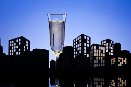 Metropolis Champagne cocktail in city skyline setting