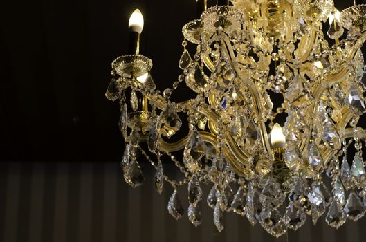 close up on the crystal of chandelier