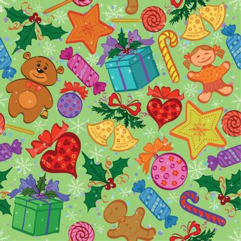 Holiday seamless pattern with cartoon characters and elements. Vector