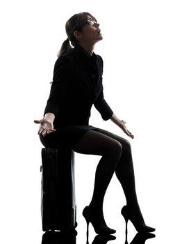 business woman traveling despair complaining  silhouette