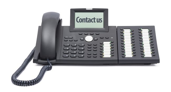modern business phone on white background with the words -contact us - in the display