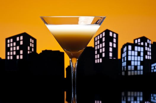 Metropolis coffee  cocktail in city skyline setting