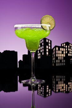 Metropolis Margarita  cocktail in city skyline setting