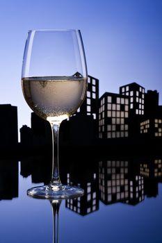 Metropolis White Wine in city skyline setting