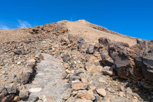 Path in lava field on top of Teide volcano. Tenerife, Canary Islands, Spain