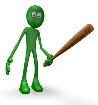 green guy with baseball bat - 3d illustration