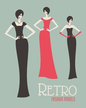 Three retro fashion models in elegant dresses.