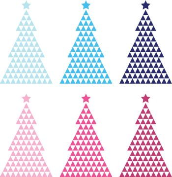 Mosaic Trees christmas collection. Vector Illustration
