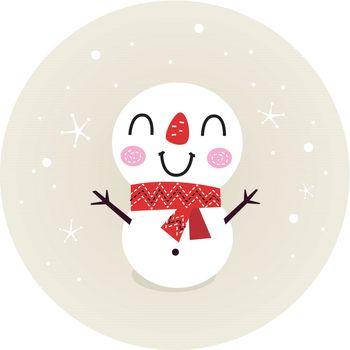 Beautiful funny Snowman. Vector cartoon Illustration