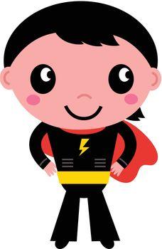 Cute young Super hero boy. Vector Illustration