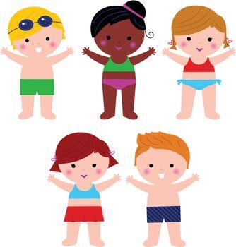 Little cute colorful summer Kids. Vector cartoon Illustration