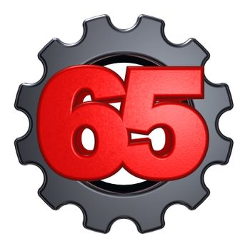 number sixty five and gear wheel on white background - 3d illustration