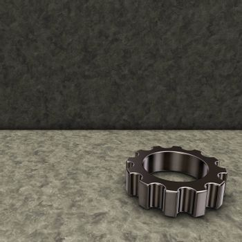 gear wheel on stone background - 3d illustration