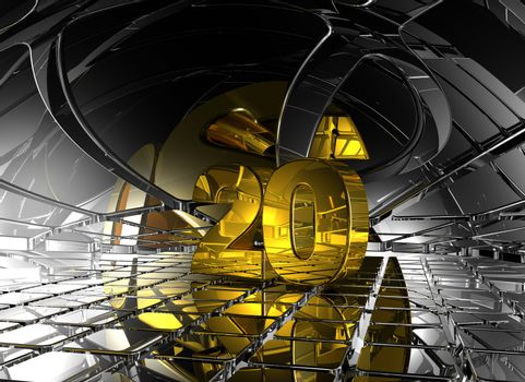 number twenty in abstract futuristic space - 3d illustration