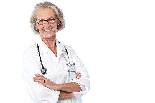 Experienced lady doctor with stethoscope