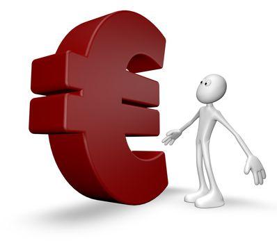 white guy and euro symbol - 3d illustration