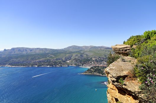 view of the port of Cassis from the Cap Canaille  in the south of France