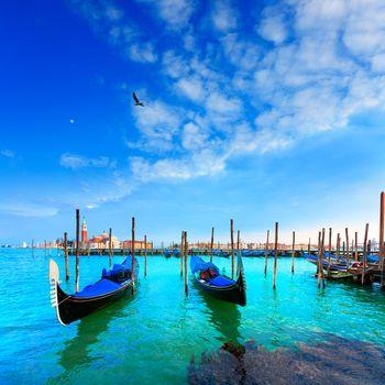 Venice. Gondolas. Canale della Giudecca. San Giorgio Maggiore.