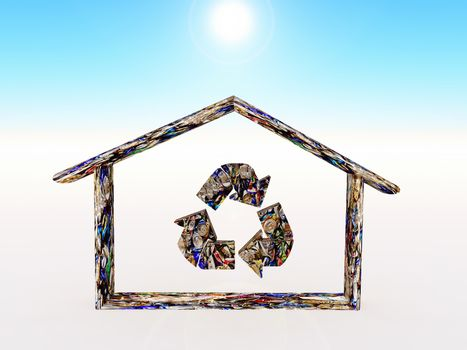 a home shape made in metal recycling