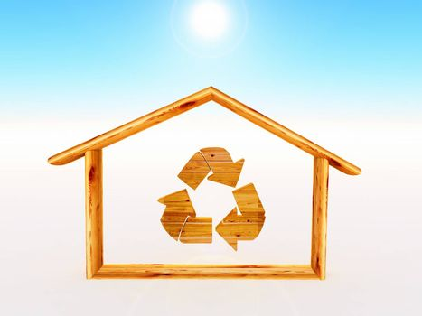 woodn house with the recycling symbol inside