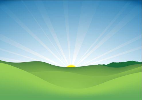 Spring Landscape - Background Illustration, Vector