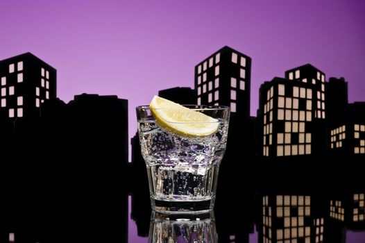 Metropolis Gin Tonic cocktail cocktail in city skyline setting