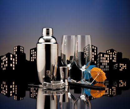 Metropolis Bartender tools in city skyline setting