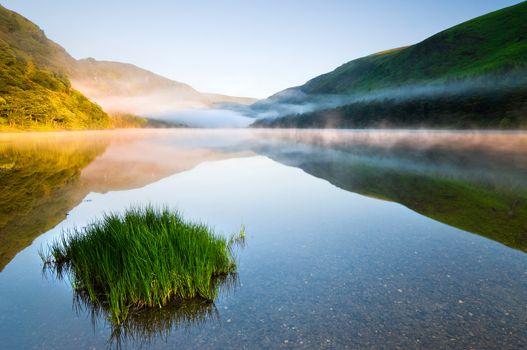 Twilight at mountain lake