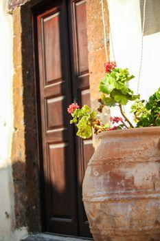 Ceramic vase in the yard at Emporio, Santorini