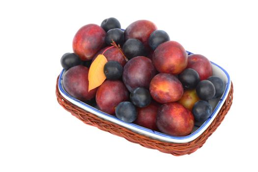 Wicker basket placed in her large ripe plums and prunes