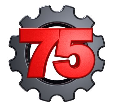 number seventy five and gear wheel on white background - 3d illustration