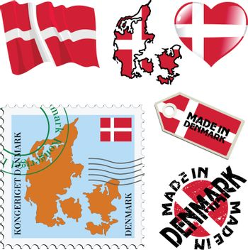 set of different symbols in national colours of Denmark
