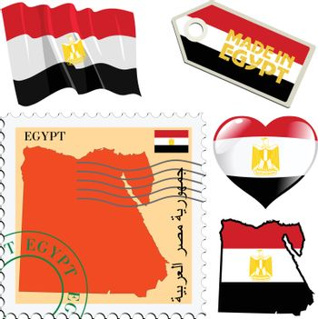 set of different symbols in national colours of Egypt