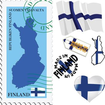 set of different symbols in national colours of Finland