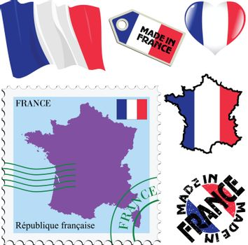 set of different symbols in national colours of France