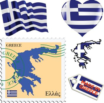 set of different symbols in national colours of Greece