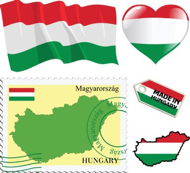 set of different symbols in national colours of Hungary