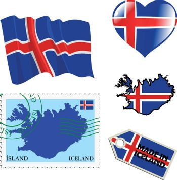set of different symbols in national colours of Iceland